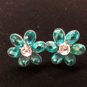 Jewelry - Teal Flower Pierced Earrings